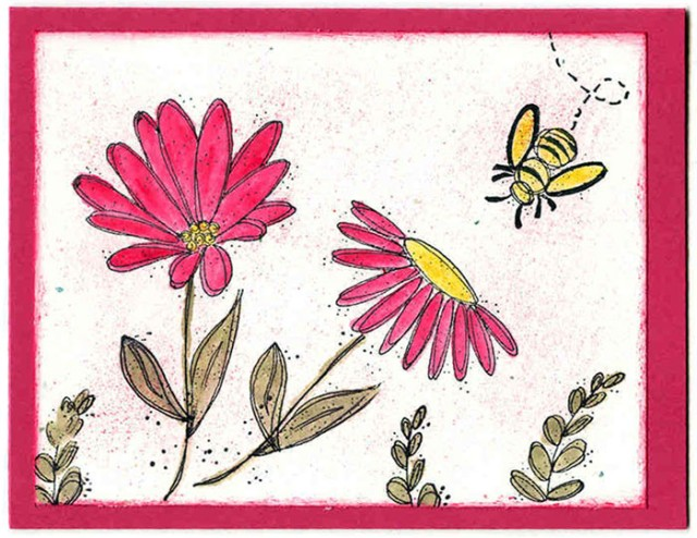 Simple Bee and Flowers Card